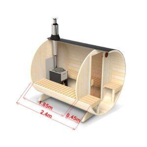 bilde 1 2.4m badstutoenne for 4 pers med utvendige sitteplasser
